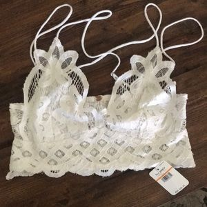 Free People Adella lace white bralette never worn